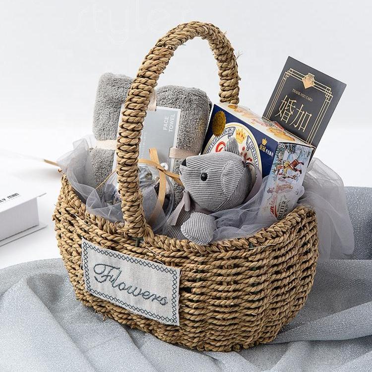 Cocostyles обувь на заказ; Сделанные вручную в простом стиле плетеная корзина подарочный детский комплект одежды, для маленьких девочек; С ручкой для деревенский новорожденный ребенок сувенир черный фриди