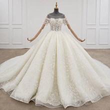 HTL1297 белое свадебное платье с цветочной аппликацией и бусинами, длинное бальное платье на шнуровке с короткими рукавами(China)