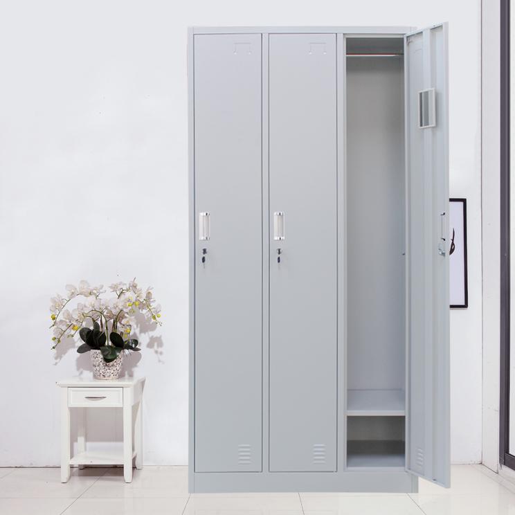 Light Grey School Furniture Triple Nests Metal Clothes Wardrobe Cabinet Steel 3 Door Armoire Locker