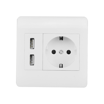 Single EU USB Wall Socket 5V 2.1A AC 220-240V 16A Dual USB Wall Socket Switch