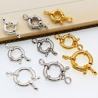 Wholesale 925 sterling silver accessory big round spring clasp with two rings for bracelet and necklace making