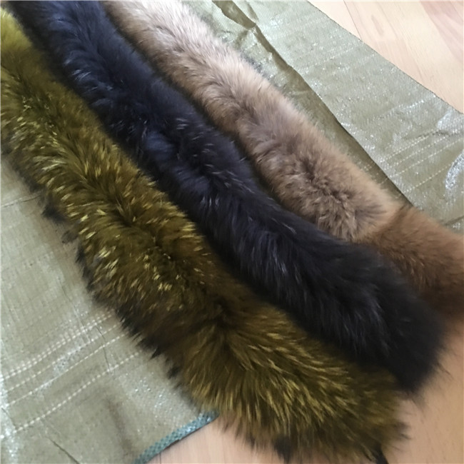 Detachable raccoon fur collar red Fox Fur