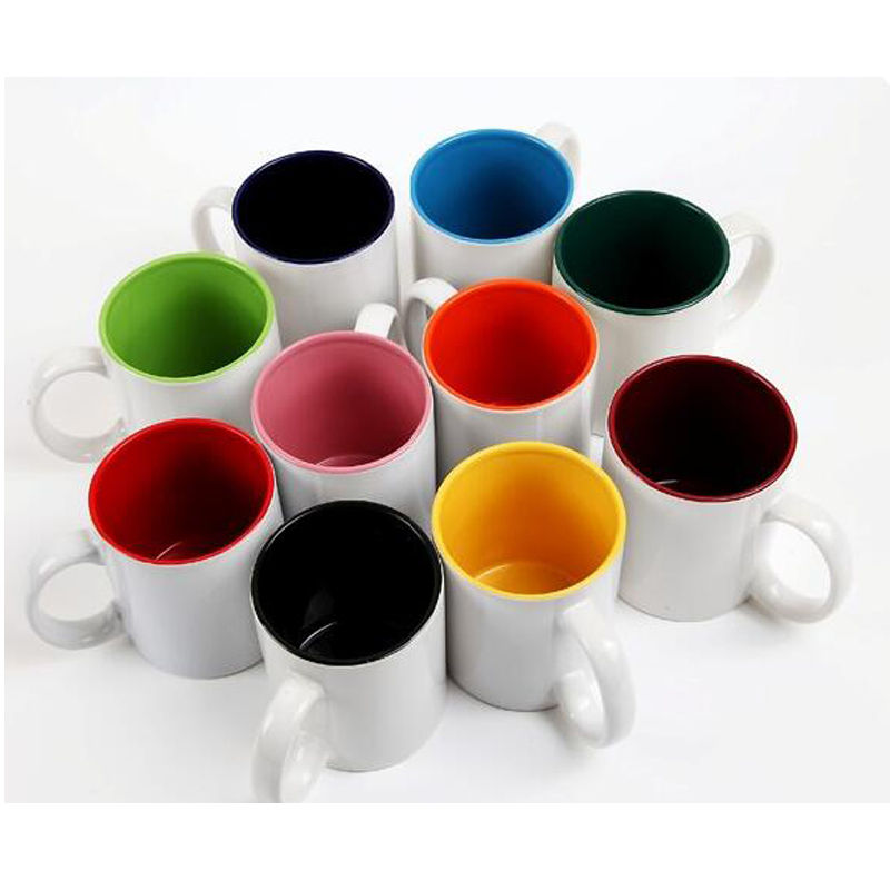 In Stock 10 colors 11oz Color Inside Blank Sublimation Coated Ceramic Mug