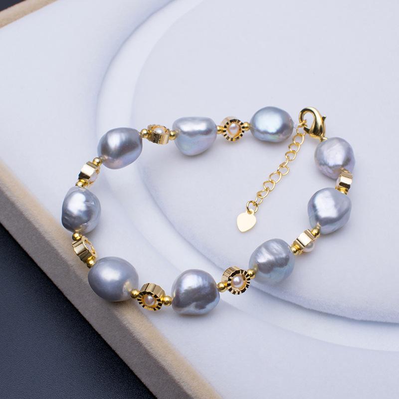 Elegant Keshi Freshwater Pearl Handmade Lady Gifts Grey Color Natural Baroque Bracelet