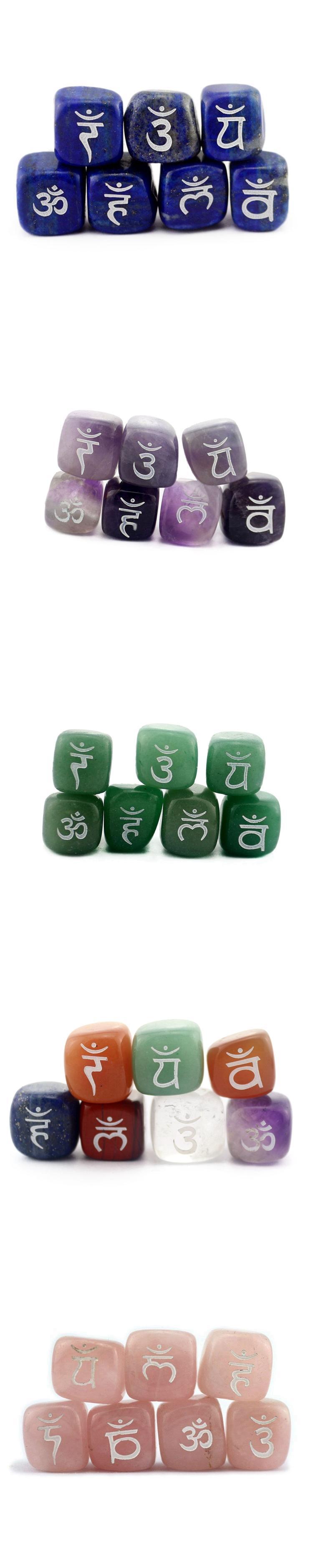 Cura de cristal tombado pedra mista jade gravado chakra pedras de roupa por atacado