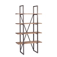 Loft Old Wood Open Industrial Bookshelf (Open Narrow Bookshelf U5016S)