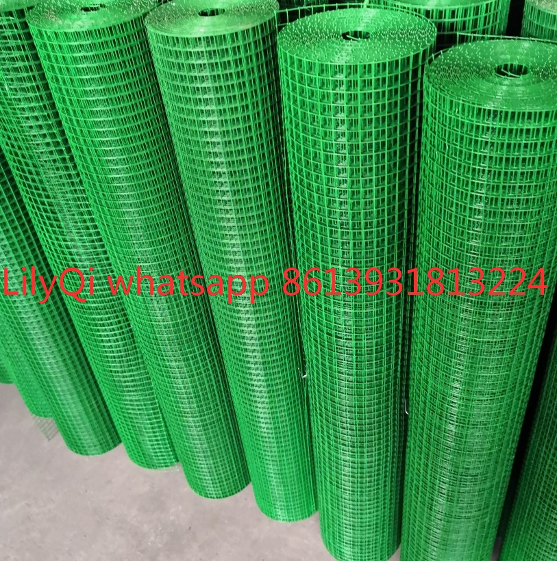 1/2'' , 3/4'' , 1'' , 1/4'' , 3/8'' , 5/8'' hole size , green pvc coated welded wire mesh 3'x100' roll ,20kg/25kg roll weight