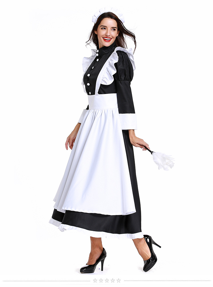 high quality french maid dress costume s-xxxl for fat woman