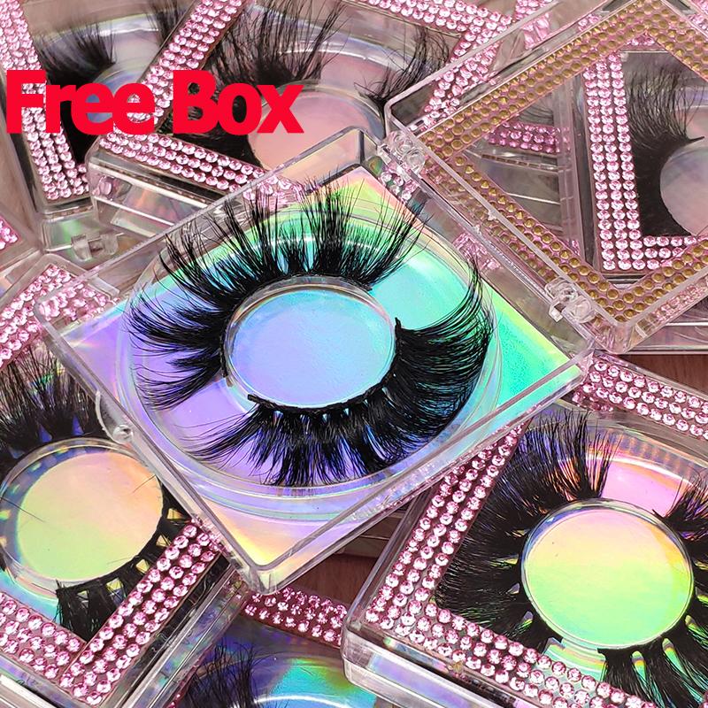 Free Sample Private Label Full Strip False Eye Lashes Vendor 100% Real 3D 5D 25mm 25 mm Mink Eyelashes With Custom Packing Box