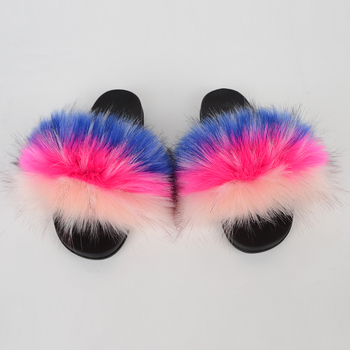 New fashion Mommy and Me Children winter indoor fox/raccoon fur slippers warm faux fur slipper