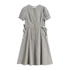 Cute women plaid vintage lady summer dress with bubble sleeve