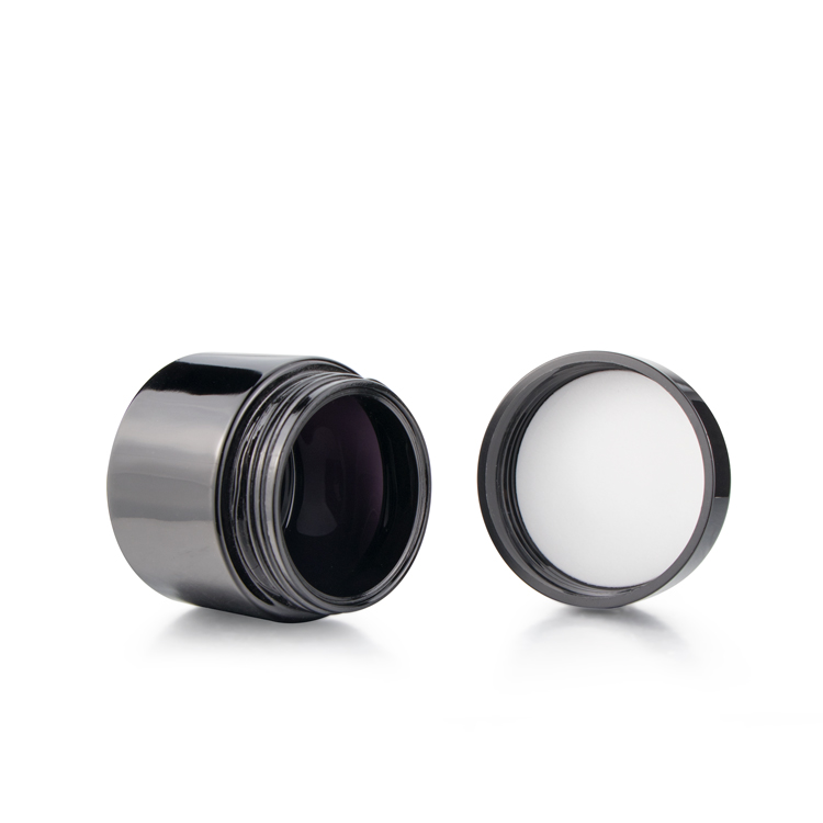 Wholesale 250ml 500ml 750ml black uv tall round ultra violet screw top smell proof wide mouth storage stash glass jars