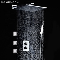10 Inches 3 way Rainfall Thermostatic Bathroom Shower Mixer Fixture With In Wall Massage Shower Taps Body Jets Set