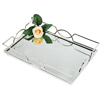 Custom Cheap Wedding Decorative Silver Square Metal Mirror Acrylic Serving Tray