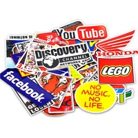 Removable Vinyl waterproof printing Luggage Skateboard Bicycle Laptop Decal Custom die cut Stickers