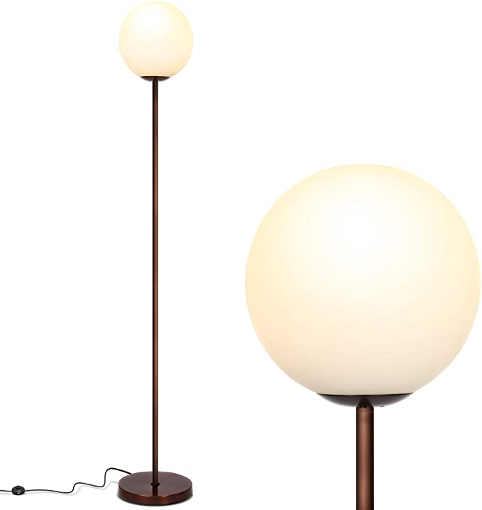 Mid Century Modern Standing Lighting Glass Globe Floor Lamp for Living Rooms Bedroom &Office