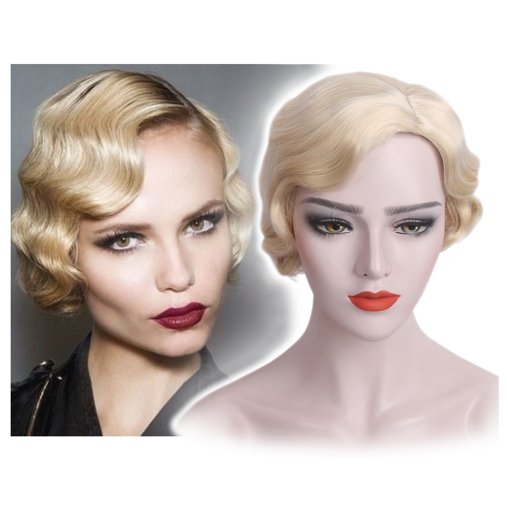 Women Fashion short 15 Inch Short Curly 613 Blonde Synthetic Hair Wigs  Finger Wave Wig