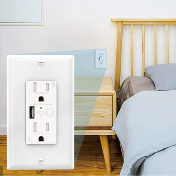 In-Wall Plug US 110V 15Amp Tuya Timer APP WiFi Smart USB Socket and Switch Amazon Alexa Google Home Wall Outlet