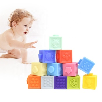 BPA Free Eco Friendly Soft Squeeze Stacking Building Blocks Sensory Educational Infant Toddler Baby Toy