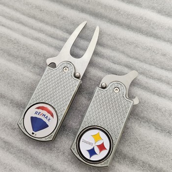 Switchblade cheap golf repair divot tool with bottle opener silver