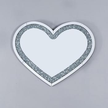 Home decor mirror crushed diamond heart shaped wall mirror