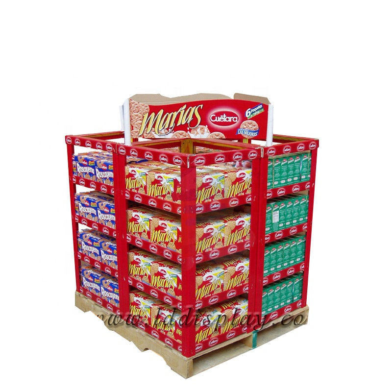 POP Customized Supermarket Shelves Cardboard Retail Display Rack for Food