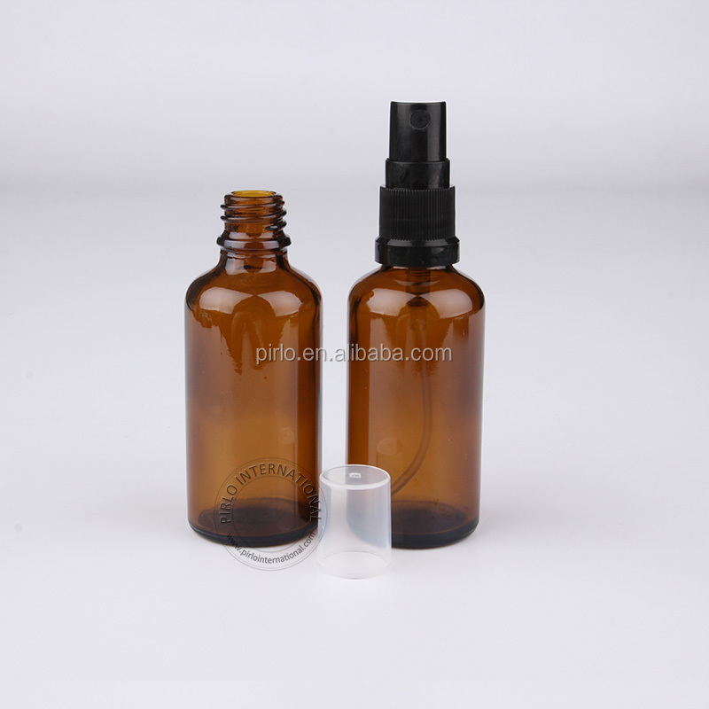 High Quality 50ml Essential Oil Bottle With Sprayer Amber Cosmetic Containers For Women Glass Atomizer