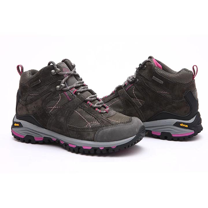 รองเท้าเดินป่ากันน้ำสำหรับผู้ชายและผู้หญิง,รองเท้าปีนเขาเดินป่ากันลื่นสำหรับฤดูหนาวหนังแท้ให้ความอบอุ่น