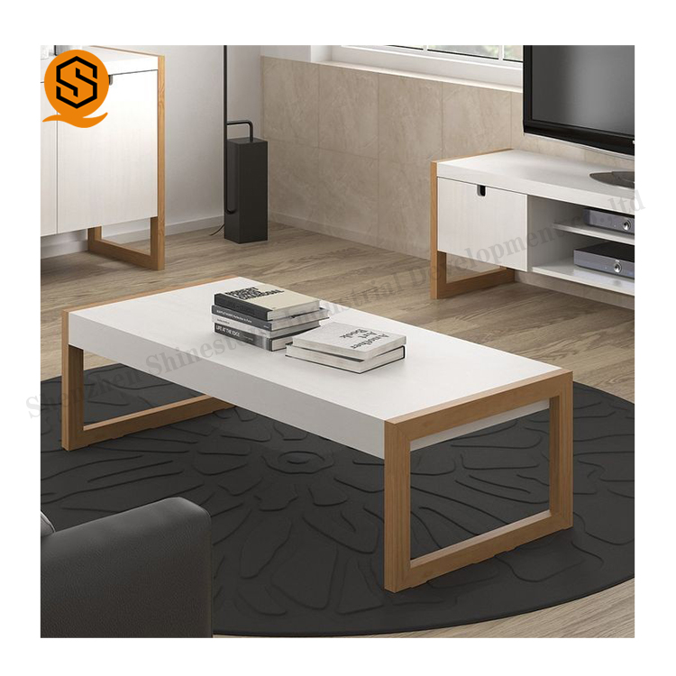 Unique design White acrylic solid surface table top modern house coffee table