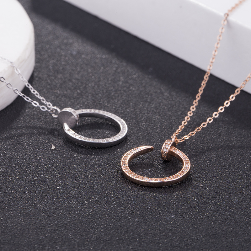 Creative women special design nail zircon shinny pendant necklace long chains S925 sterling silver necklace