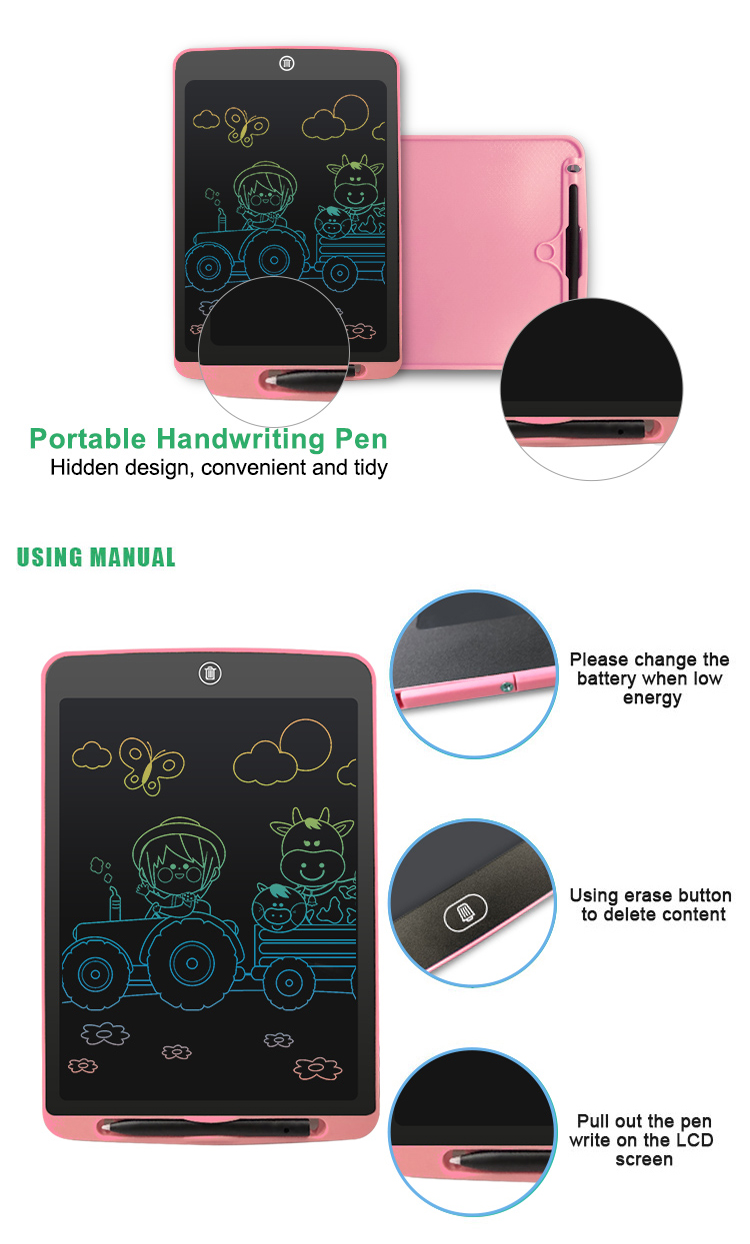 Best Gift 12 Inch Fridge Magnet Notepad Erasable Graphic Drawing Pad Kids Lcd Writing Tablet