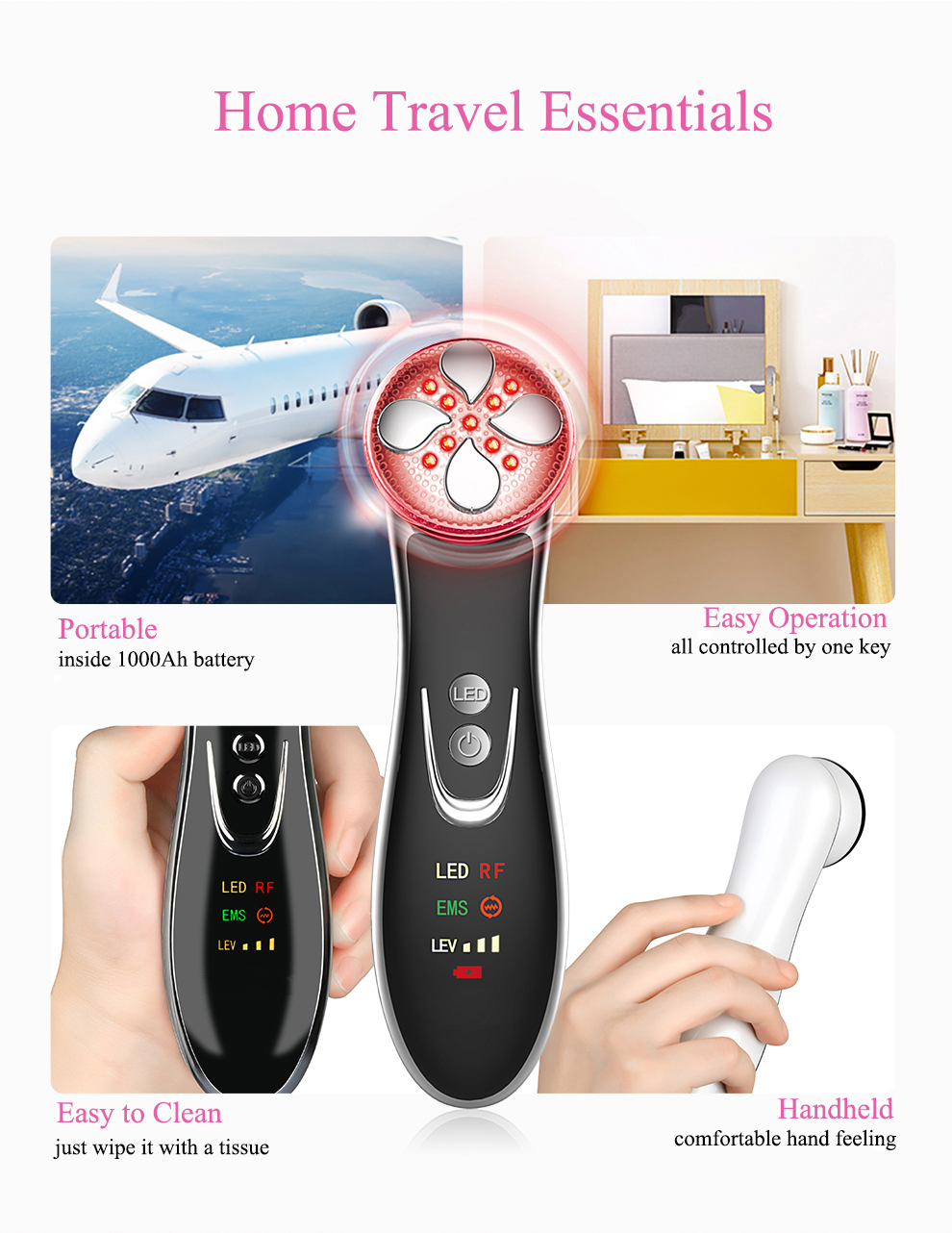 R&D anti-aging skin rejuvenation machine ultrasonic skin care beauty device facial skin care device