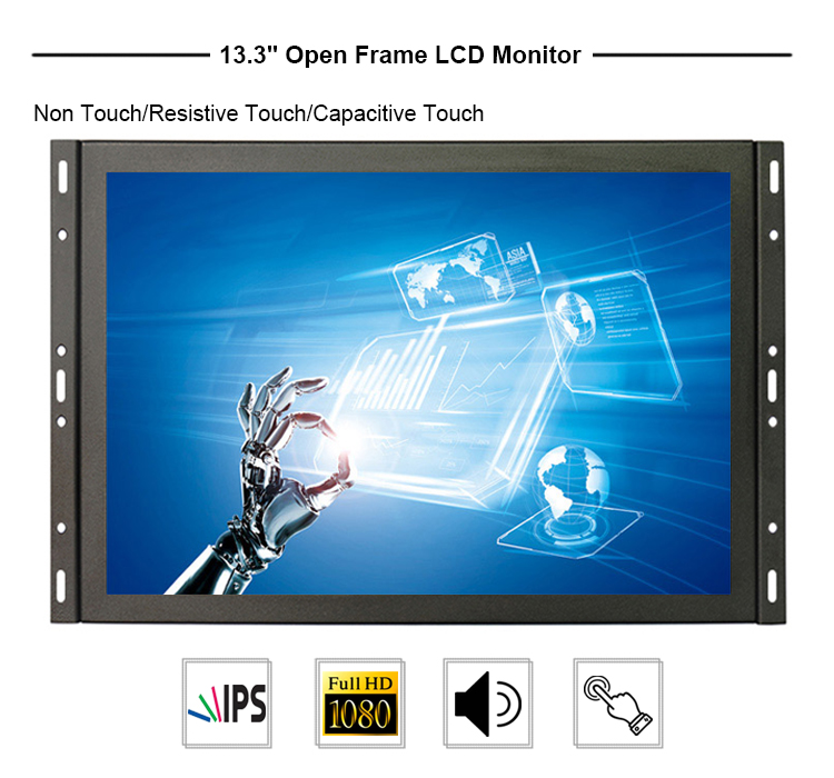 High brightness wide screen 13.3 inch tft lcd screen open frame industrial monitor