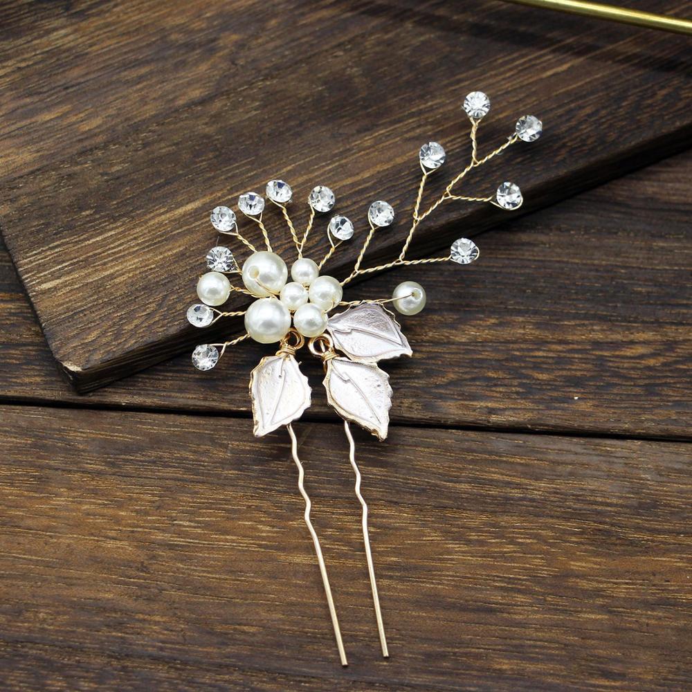 Handmade Pearl Rhinestone Hair Pins White Leaf Metal Hair Fork Buns Elegant Bridal Tiara