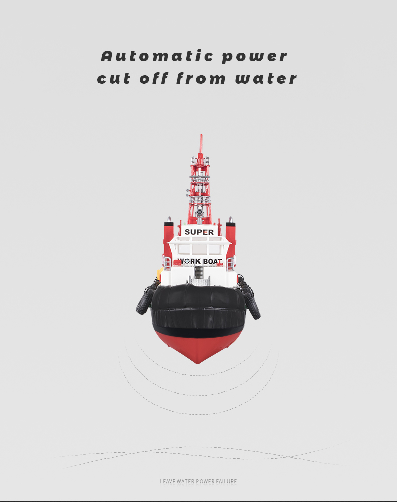 HengLong 3810 2.4G RC Seaport fireboat 63CM Electric Tugboat Spray Water Toys RC workboat
