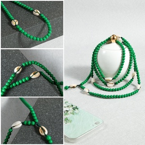 2020 Hot sale mobile phone anti theft chain 6mm acrylic latest design beads necklace mobile phone straps for gift