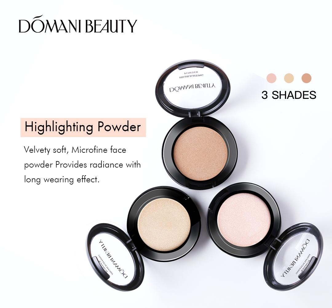 DOMANI ขายส่งมังสวิรัติ holographic illuminator bronzer compact single highlighter palete หลวมแป้ง face highlighter