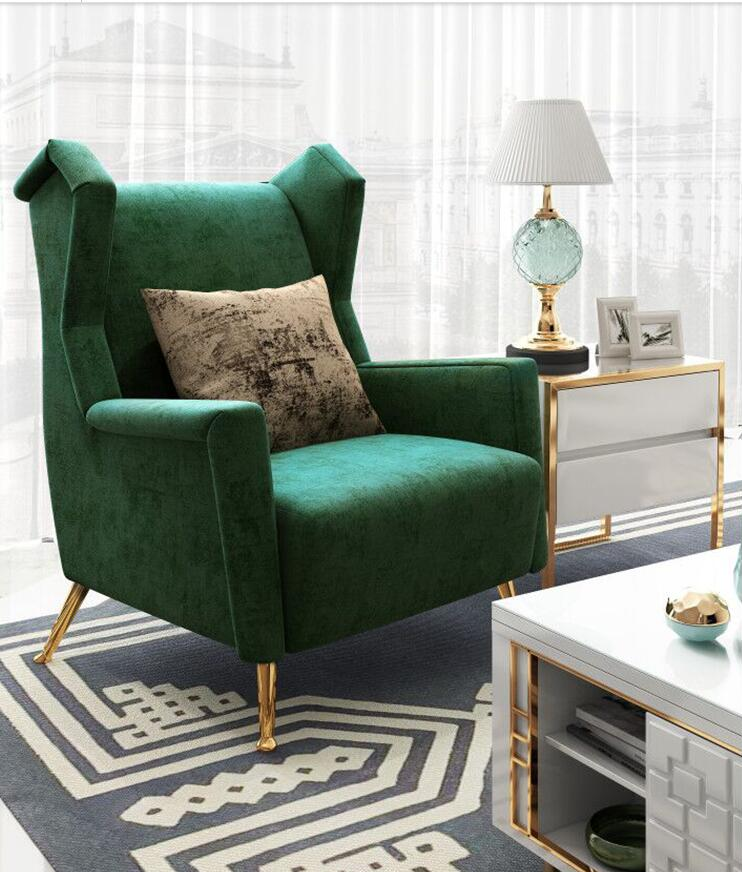 New Design Modern Home Furniture Brass Metal Base Leisure Waiting Lounge Living Room Chair