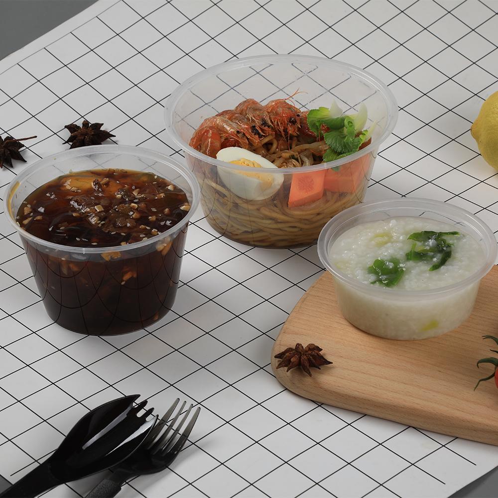 Runde hohe qualität food grade food container set schüssel kunststoff verpackung boxen mit deckel