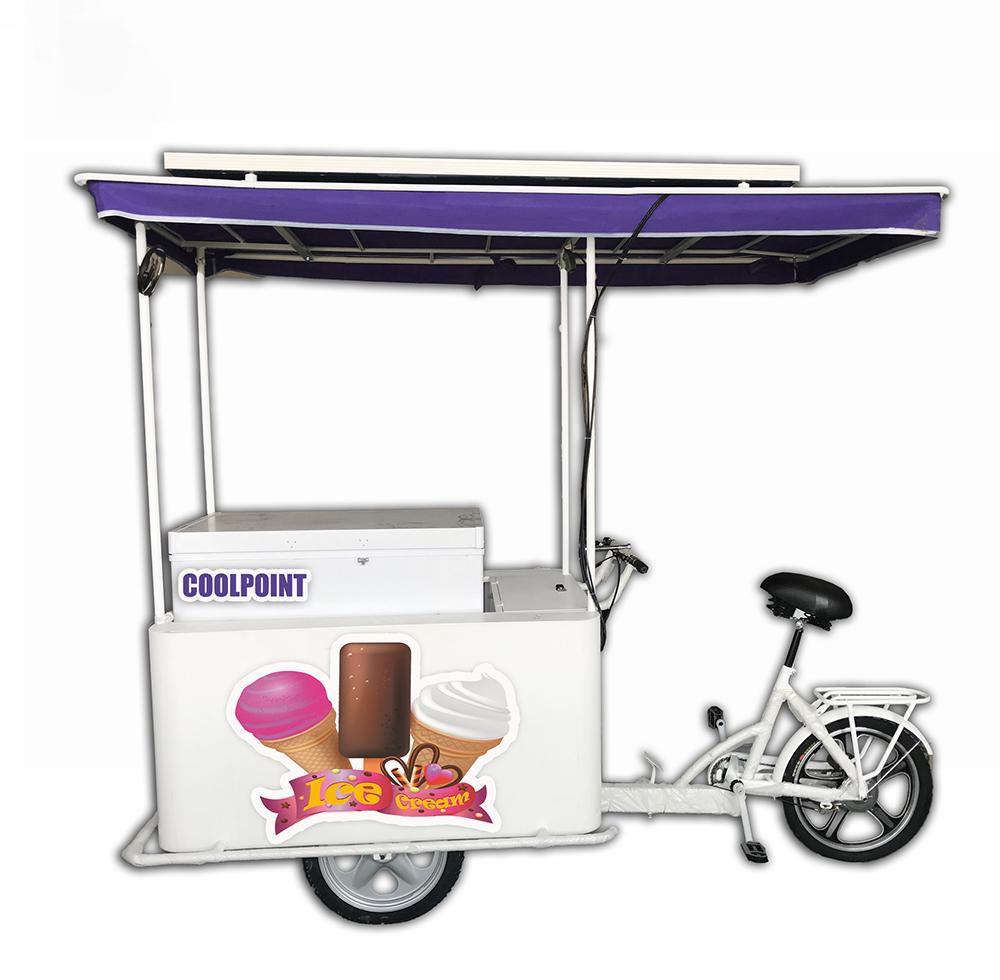 Sıcak satış dondurma üç tekerlekli bisiklet triportör ve 208 litre güneş dondurucu