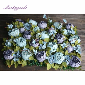 LFB455-6 light blue color silk flower wall panel wedding backdrop floral arrangement party events artificial flower