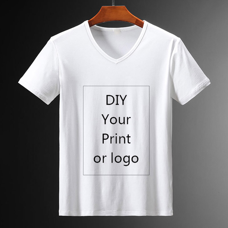 Customized Print V-neck for Men DIY Your Like Photo or Logo White Top Tees Women's and Men's Clothes Modal T Shirt