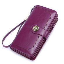 Женские кошельки Zency из натуральной кожи, вместительный кошелек для монет, держатель для карт, высококачественный длинный бумажник черного ...(Китай)