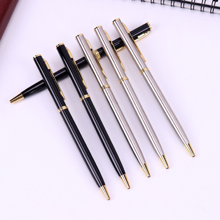 1PC Stainless Steel Batang Berputar Metal Ballpoint Pen