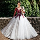 Bridal Unique Dark Red White Long Sleeve Ball Gown Wedding Dress