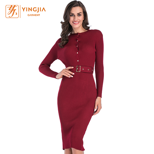 Online <strong>shopping</strong> Women knitted <strong>Dress</strong> hot solid color Long Sleeve knitted <strong>sexy</strong> women <strong>dresses</strong> with belt and metal buttons