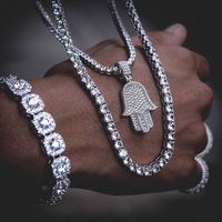 Miss Jewelry Hip Hop Custom 925 Sterling Silver Mens CZ Diamond Iced Out Tennis Chain Necklace