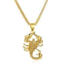 Европейский и американский Новый крутой золотой кулон скорпион, свитер, цепочка, ожерелье в стиле хип-хоп, ретро, открытые вечерние ожерелья...(Китай)