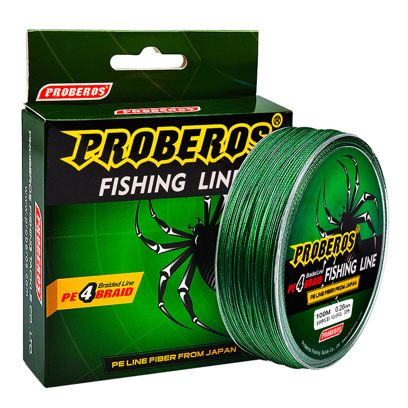 100M Multicolour PE Braided Wire 4 Strands Nylon Multifilament Japanese Fishing Line Processing Super Strong 6-100LB Max Tension, Green