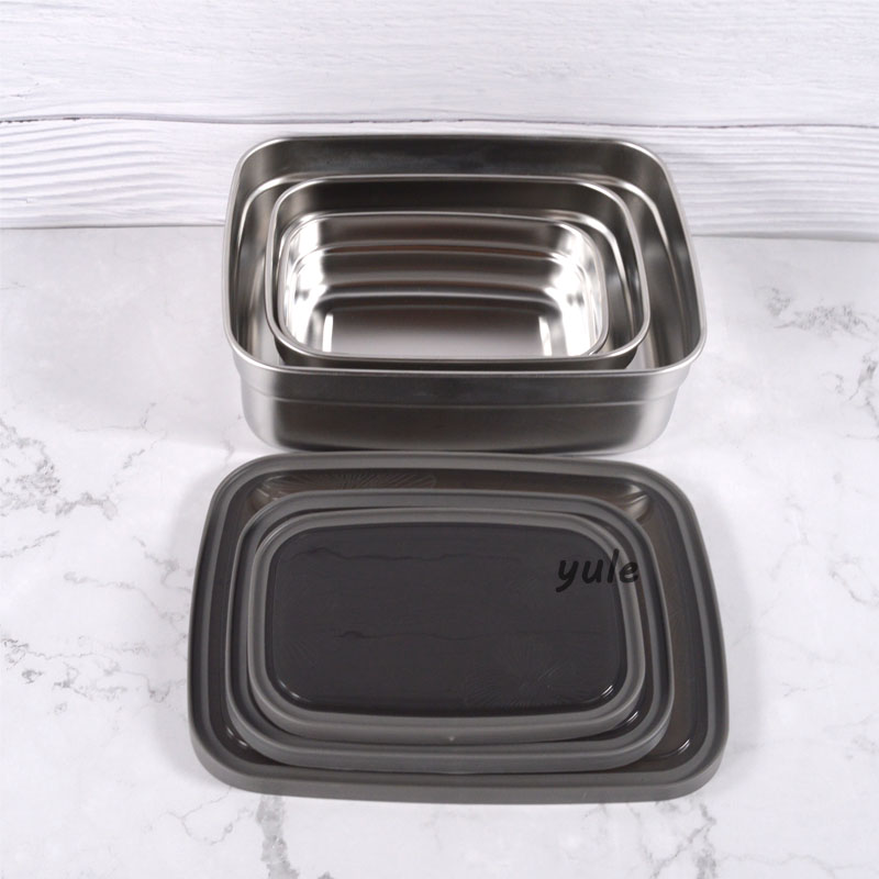 Premium Set of 3 Stainless Steel homio lunch boxes Vegetable bowl